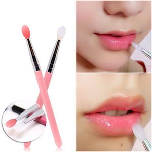 3 Pcs Makeup Brushes Soft Silicone Head Plastic Handle Eye Shadow Lip Applicator Brush Tools Cosmetic Brush Applicators