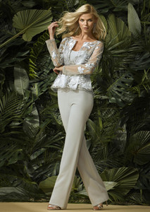Mother of the Bride Pant Suits With Jacket Lace Ankle Length Formal Plus Size Wedding Guest Dress Mother's Outfits