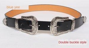 Double-headed carved fashionable silverwomen's pin women's casual all-Match belt Black thin Pin belt