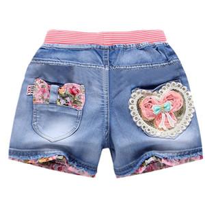 Sommer neue Kinderkleidung Mädchen Shorts Mode Mädchen kurze Prinzessin Jeanskindhosen Mädchen Shorts Blumenmädchen Kleidung Denim