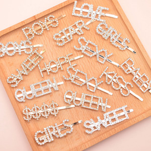 Anglais Alphabet Hairpin Letter Word strass cristal Barrettes pince à cheveux Grip Pin Accessoires cheveux Barrette filles OOA8326