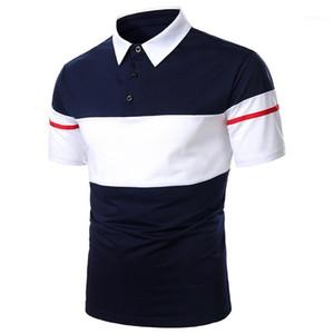 Décontracté à manches courtes manches manches manos hommes vêtements designer polo chemises hommes mode double couleur Polos lambris