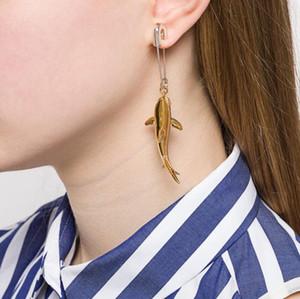 New AMBUSH 925 Shark Pin Golden Earring Goddess Fashion Temperament Eardrop Simple Silver Ear Nail Original Gift Box