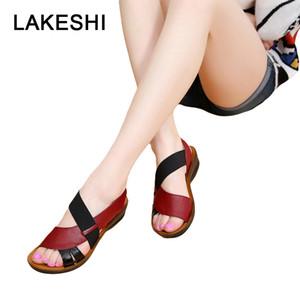 LAKESHI Summer Women Sandals Leather Slip-On Women Shoes Fashion Soft Bottom Mother Sandals Wedge Sandals Peep Toe Female Shoes MX200407