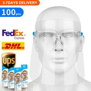 10 estoque Pcs US PET Goggles face Escudo de Segurança Oil-à prova de respingos Anti-UV Capa protetora Face Com Vidro Máscara Facial de vidro transparente