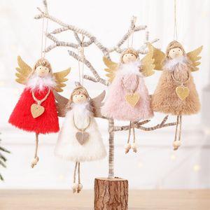 2020 새로운 크리스마스 장식 펜던트 4 색 귀여운 크리스마스 인형 봉제 깃털 천사 크리스마스 트리 크리 에이 티브 펜던트 사랑