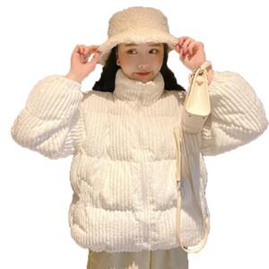 2020 Women Autumn Winter New Cotton Coat Stand Collar Long-sleeved Cotton Suit Short Corduroy Student Cotton Jacket Loose X82
