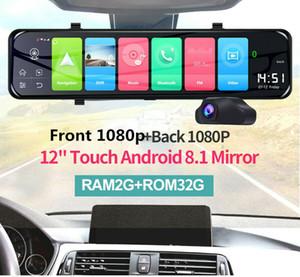 """12 """"안드로이드 8.1 4G WIFI GPS 백미러 대쉬 비디오 레코더 자동차 DVR 듀얼 렌"""