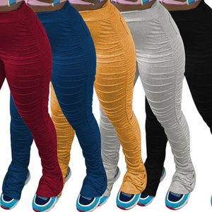 Sexy Women Pants Designer Fashion Casual Solid Color Pleated Slit Tight Long Trousers Ladies Leisure Leggings To66