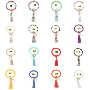 Multiple Styles Sun Flower Leather Wrap Tassels Bracelets Keychain Wristlet Bracelet Tassel Keychain Round Bangle Key Ring DHB1951