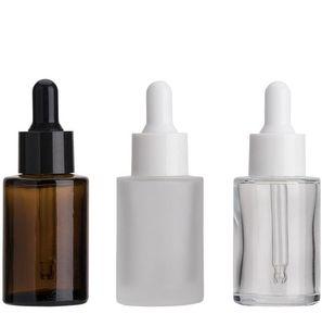 30ML 유리 유리 스포이드 향수 병 플랫 어깨 젖빛 지우기 앰버 유리 라운드 에센셜 오일 세럼 병 병 GGA3637-2
