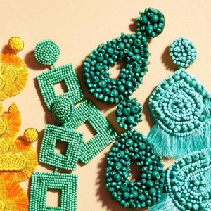 Dvacaman Boho étnico Grande Tassel Fringe Brincos 2020 Declaração Handmade Big Beads Brincos Partido Dangle Gota presente Atacado