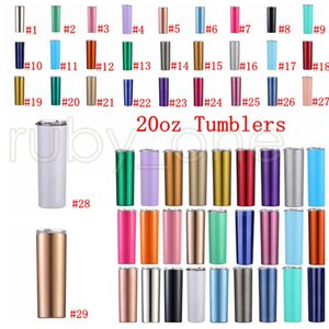 20oz Skinny Tumblers Blank Sublimation Slim Cup Stainless Straight Cup Coffee Mugs with Lid Beer Mugs 29styles RRA3518