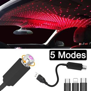 LED Car Roof Star Night Light Projector Atmosphere Galaxy Lamp USB Decorative Car Lights Adjustable Multiple Lighting Effects