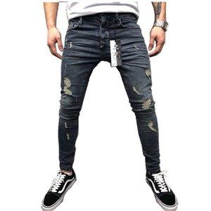 Mens Fashion Jeans Straight Slim Fit Biker Pants Distressed Skinny Ripped Destroyed Denim Jeans Washed Hip Hop Pants