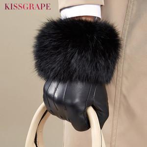 Genuine luvas de couro de luxo das mulheres do inverno Qualidade fêmeas quentes luvas de couro real de pele de carneiro com Super Big Fur