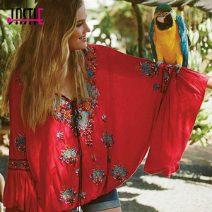 Jastie Siren Song Top Women Blusas Vintage Embroidery Floral Ruffle Cuffs V-Neck Beach Casual Loose Shirt Tops Boho Blusas