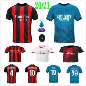 الرجل المرأة الاطفال AC 2020 2021 ميلان # 11 IBRAHIMOVIC لكرة القدم الفانيلة 20 21 بياتك باكيتا THEO REBIC بن ناصر ROMAGNOLI مخصص لكرة القدم قميص
