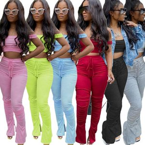 women Fashion 2 two piece outfits sets sexy slash neck crop top split pants elastic flared trousers suits streetwear club plus size clothing