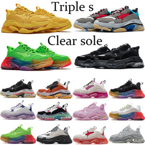 Clear Sole Paris Triple S Fashion Platform Sneakers 17FW Triple beige Green Neon Yellow Balck White gym red blue Party men women shoes