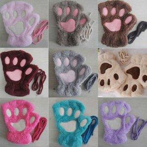 Katze-Plüsch-Tatzen-Handschuh Neuheit Halloween weiche Frottee Dame halber Handschuhe Handschuh Winter-weicher Plüsch-halber Finger-Handschuhe KKA8060