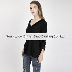 Mlo3G Caliente-venta de la camisa elegante Henry ocasional 3 de cuello V / 4-sleeve clip de manga de la chaqueta T- camiseta de la chaqueta de las mujeres 6 colores