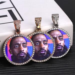 Foto feita sob encomenda da memória Medalhões sólido colar de pingente com Ténis Cadeia Hip Hop jóia personalizada Zircon cúbico Chains presente