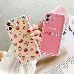 Fruit Case alimento de la manera a prueba de golpes teléfono de silicona para iPhone 11Pro Max XR X XS Max 7 8Plus linda granular antideslizante cubierta del borde suave