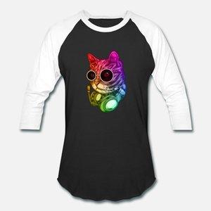 Красочная Музыка Cat Наушники Raver животные тенниски мужчина Сыпучей футболка O-Шея Отдых Свободная Свободная Весна Стандартная рубашка