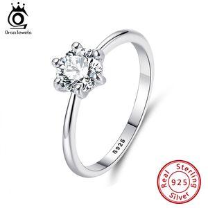 Orsa Juwelen echt 925 Sterling Silber Frauen Ringe Luxus österreichische Zirkonia Solitaire Ring Blei Nickel Kostenloser Ring für Frauen SR116