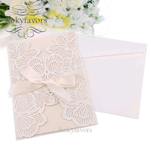 100pcs Laser Cut Floral Invitation Card Wedding Paper Card Floral Party Decors Event Card Anniversary Birthday Supplies Full Set