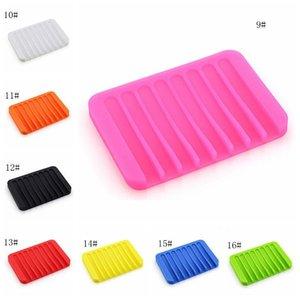 Çok renkli Suyu Drenaj Karşıtı Skid Sabun Kutusu Silikon Sabunluklar Banyo Sabun Tutucular Vaka Ev Banyo Malzemeleri 16 Renkler M.Ö. BH1105