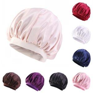New Era la cura dei capelli Bonet Pure Color Bagno cappello rotondo seta Equipaggiata sonno Cappelli raso dell'involucro della testa del bagno Prodotti Donne 5 3ba B2