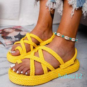 Hot Sale- Women sandals platform flat slipper women weaving colorful breathable sandals women Flip Flops fashion big size 34 - 43