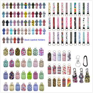229 Estilos Neoprene Hand Sanitizer Bottle titular chaveiro Bolsas 30ml Hand Sanitizer Bottle Chapstick Titular Wristlet Keychain