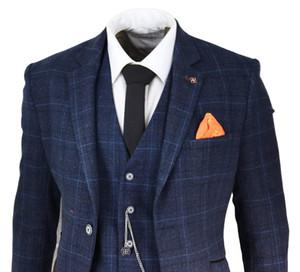 클래식 다크 블루 격자 무늬 남성 정장 3 피스 웨딩 신랑 턱시도 제일 남자 맞춤형 맞춤 재킷 조끼 바지 재킷