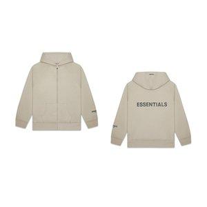 En kaliteli tanrı korkusu, mektubun arkasındaki essentials sisi logo fermuar hoodie ceket hxnnw