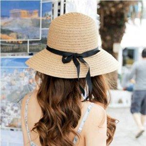 Mode Schöne Erwachsene Kappe Bogen Stroh-Sommer-Strand-Mädchen caHat Sun Hüte für Frauen Kentucky Derby Hut WWLA