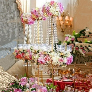 new style elegant Tall metal and crystal candelabra centerpieces wedding gold , tall and large candelabra 5 arm decoration