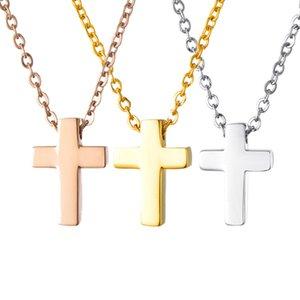 Regalo delle donne Finding preghiera New Cross collane di fascino pendente dell'oro di colore acciaio inox Crocifisso Bibbia Choker trasversale Chain Jewelry