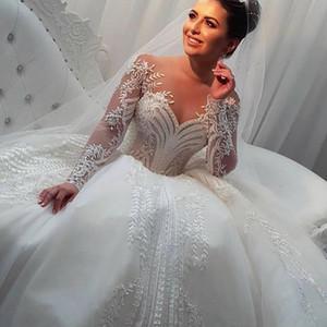 Miaoduo blanca vestido de novia Vestidos de Noiva 2020 por encargo más el tamaño de manga larga vestidos de bola Hochzeitskleid