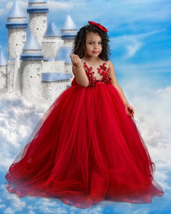 Red Lace Beaded 2020 Flower Girl Dresses Ball Gown Tulle Little Girl Wedding Dresses Vintage Communion Pageant Dresses Gowns F212