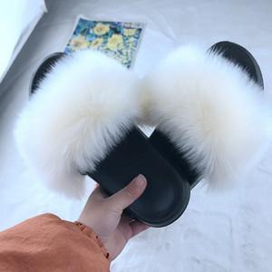 Litthing Поддельный Fox Fur Тапочки Женщины Слайды Главная Furry плоские сандалии Женщина Симпатичные пушистые дома обувь Luxury Вьетнамки