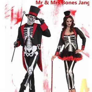 festival fantasma In9vG Halloween Cosplay vestir-se partido bola esqueleto desempenho do jogo horror crânio estágio roupas Figurino roupas costum