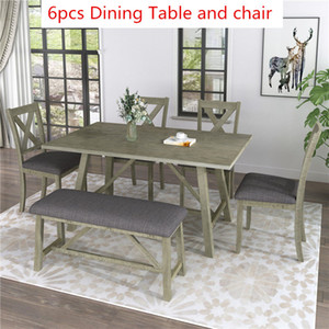 6 Piece Dining Table Set Wood Dining Table and chair Kitchen Table Set with Table, Bench and 4 Chairs, Rustic Style, Gray SH000109AAE