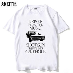 Driver picks the music Vintage Turbos Car Print T-Shirt Summer Fashion Men t-shirt Man White Tops Hipster Cool Boy Casual Tees