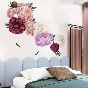 Beautiful Peony Flower Wall Sticker Living Room Kids Nursery Bedroom DIY Art Decals PVC Home Decoration Mural Wallpaper