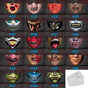 Parti drôle de Halloween Big Mouth Noël Expression Impression 3D réglable Protection insérable Chip Band Ear Dust And Haze Masque DHC2366
