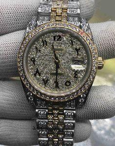 Пользовательские мужские модные часы арабский цифровой масштаб часы золото алмазные лица часы полный алмазный ремешок смотреть автоматическое механическое наручные часы