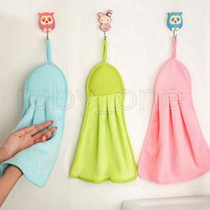 Kitchen panos de limpeza Ferramentas hangable 3 cores suaves Conveniente toalha de mão forte desgaste durável absorvente resistente Limpe Rag RRA3500